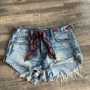 Free People Jean Shorts with Scarf belt
